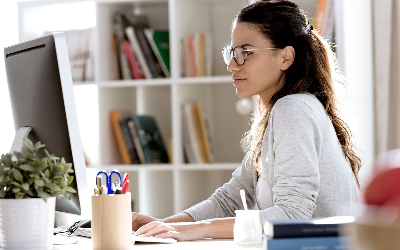 woman working with computer